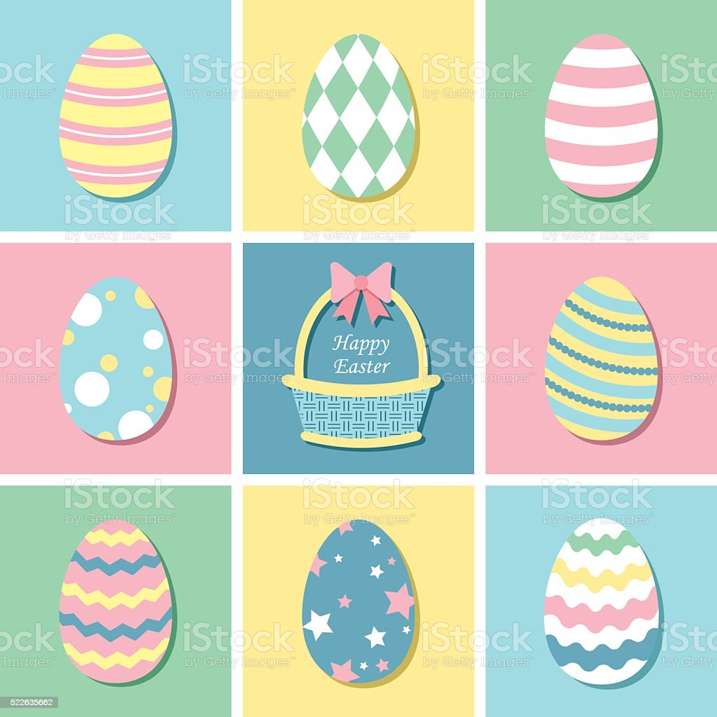 Pastel Colour Easter Eggs Royalty Free Stock Vector Art