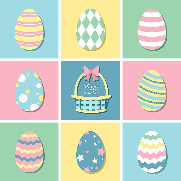 pastellfarbene ostern eier - pastellgelb stock-grafiken, -clipart, -cartoons und -symbole