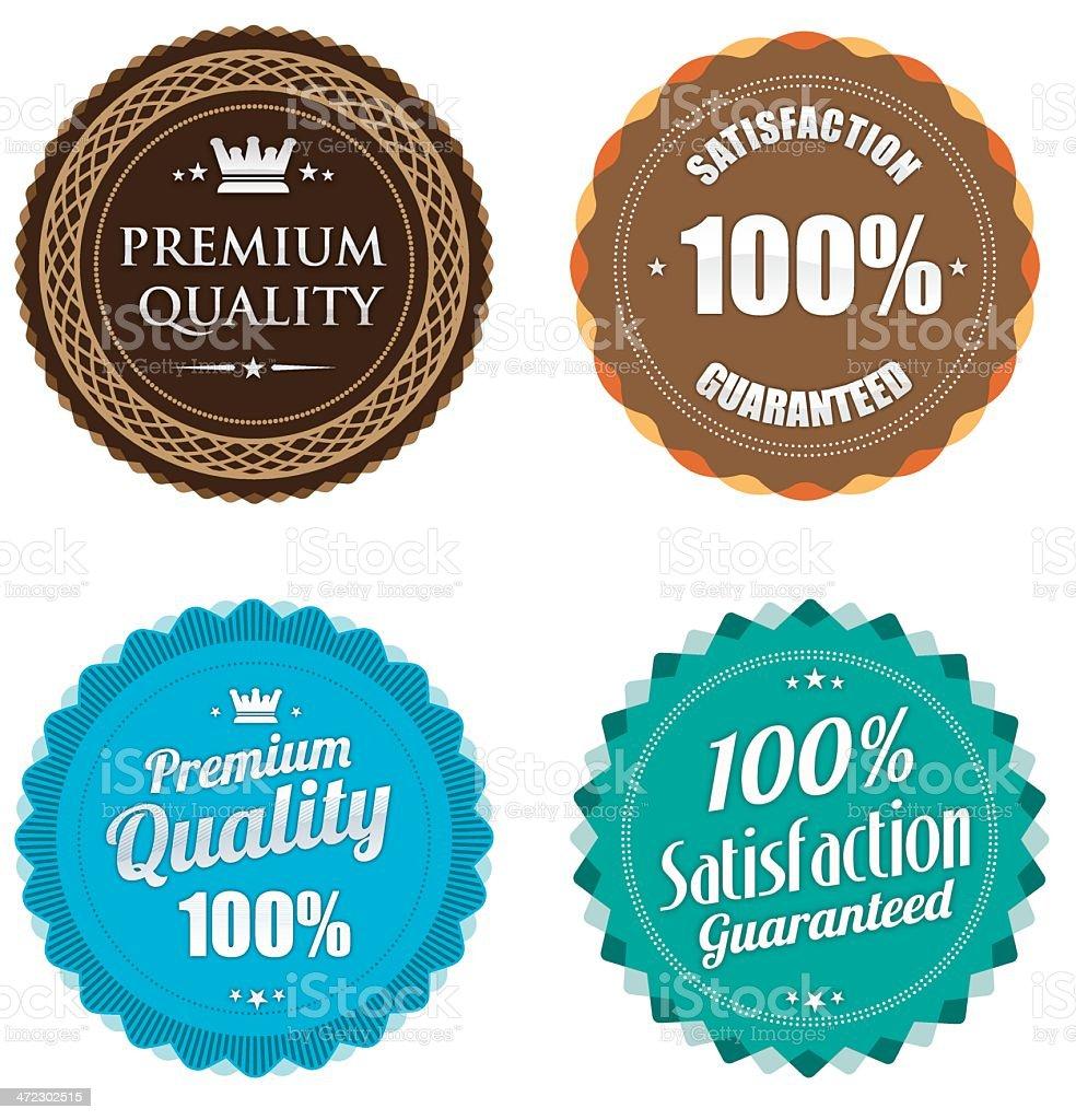 Pastel colour premium quality badges royalty-free stock vector art