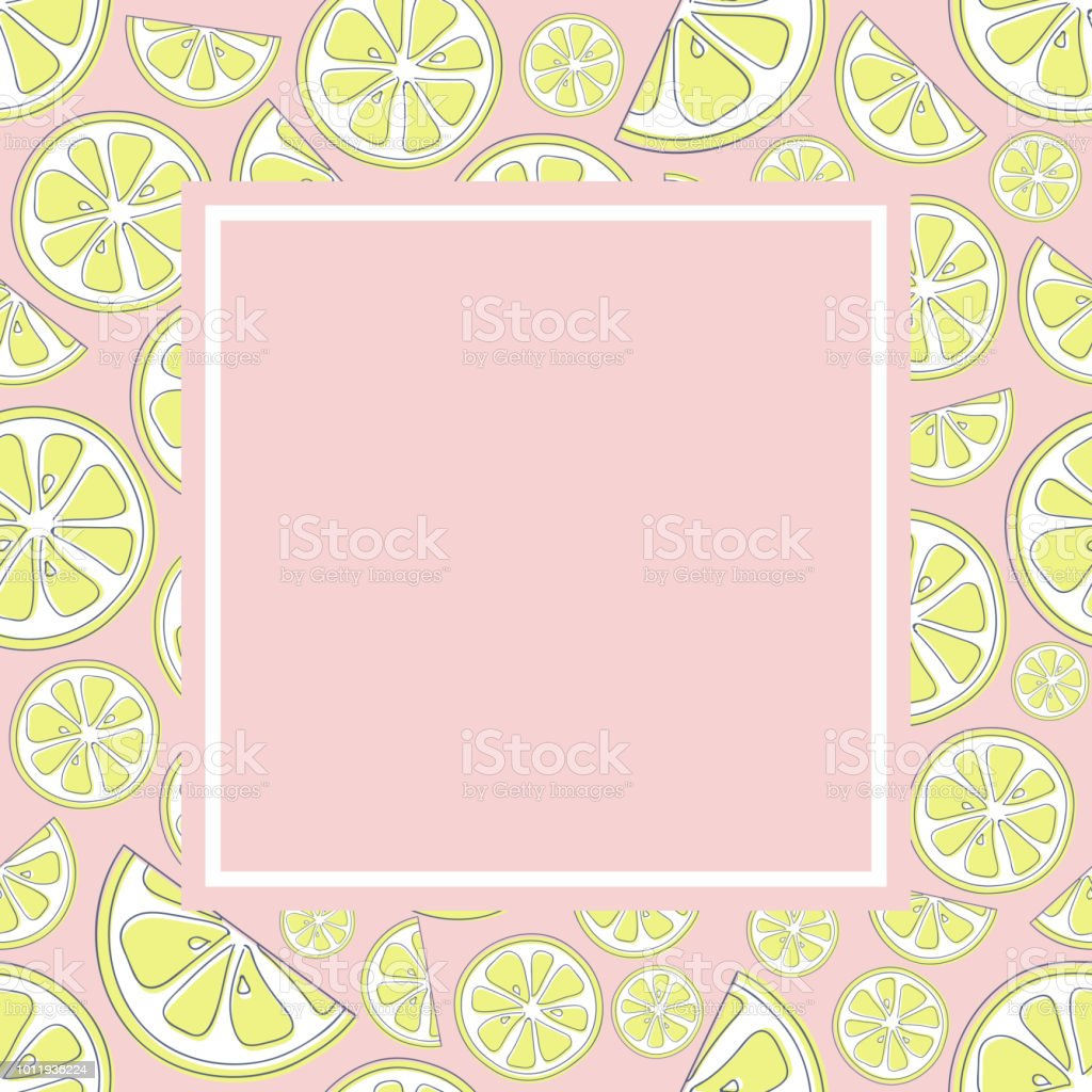 83c48c6e924a Pastel coloured background in retro style with cute lemons. Vector. -  Illustration .