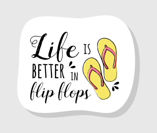 stockillustraties, clipart, cartoons en iconen met pastel gekleurde zomer label in retro stijl met grappige tekst. vector. - slipper