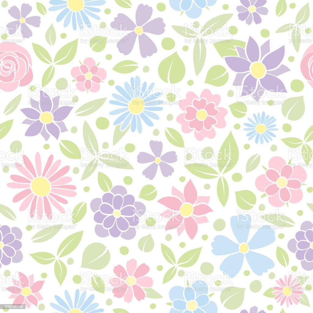 パステル カラーのかわいい花のシームレスな背景を持つテクスチャー