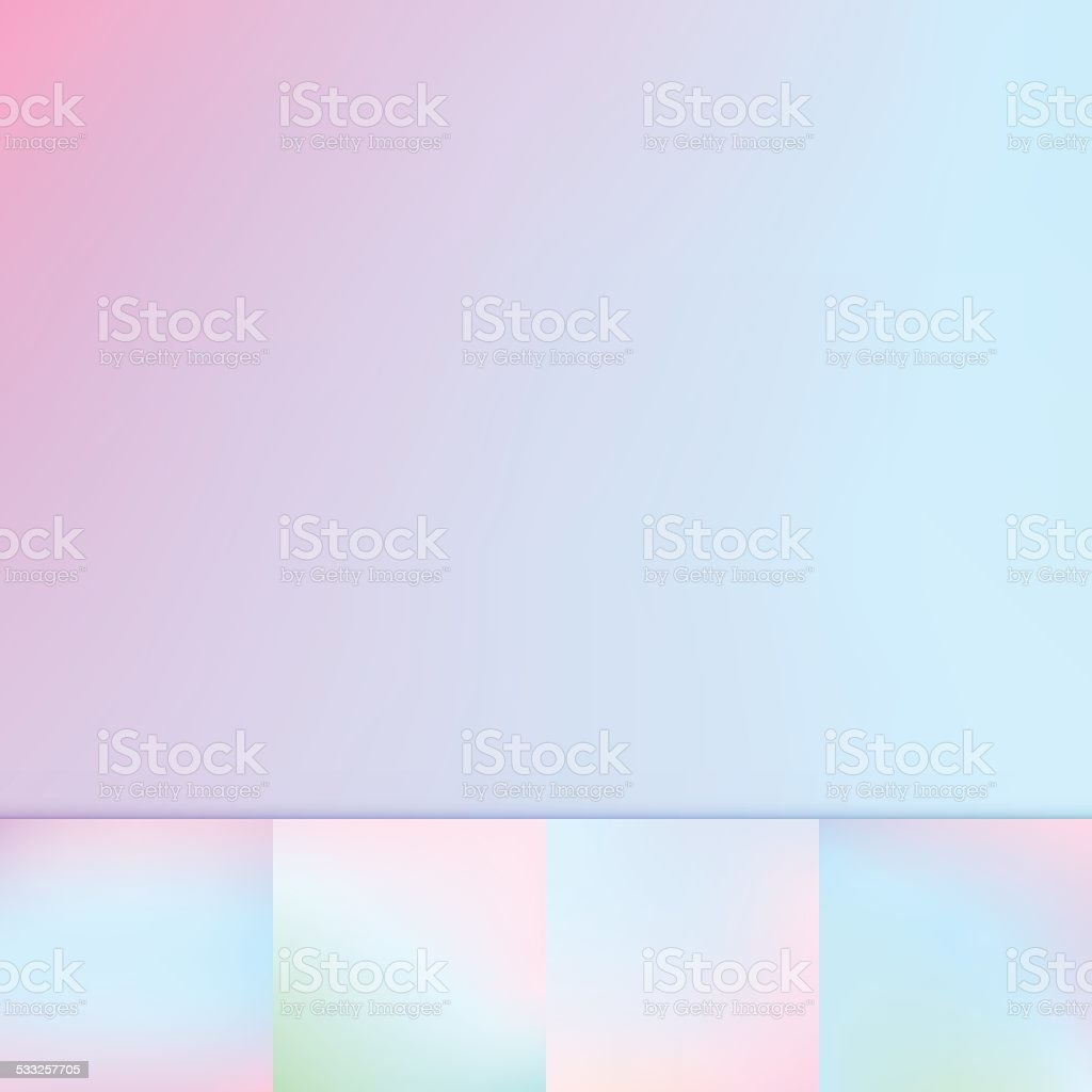 Collection of five soft blur out of focus vibrant saturated color...