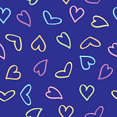 Vector illustration of pastel doodle hearts on a square blue background.