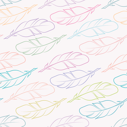 Pastel feathers seamless repeat pattern vector background.