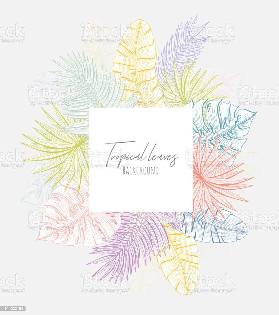 Ilustración de Pastel Marco Floral Con Hojas Tropicales Plantilla De ...