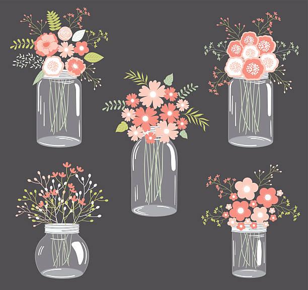 pastell blumen in mason jar - glasblumen stock-grafiken, -clipart, -cartoons und -symbole