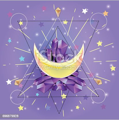 Pastel goth illustration with crescent moon with crystals,rays and stars.Sacred geometry style with space background.Trendy print.