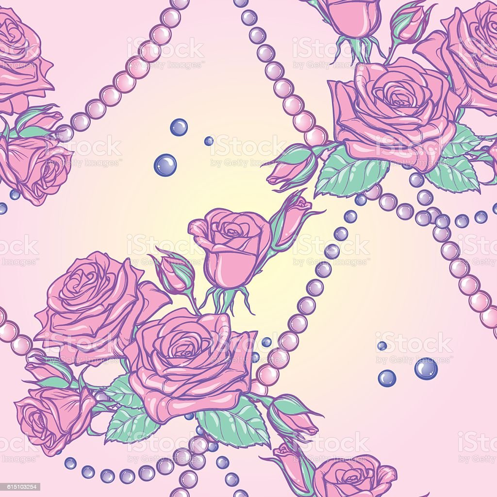 Pastel goth rose bouquets and pearls seamless pattern vector art illustration