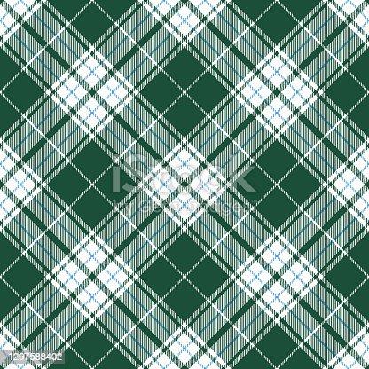 istock Pastel Green Blue Argyle Scottish Tartan Plaid Textile Pattern 1297588402