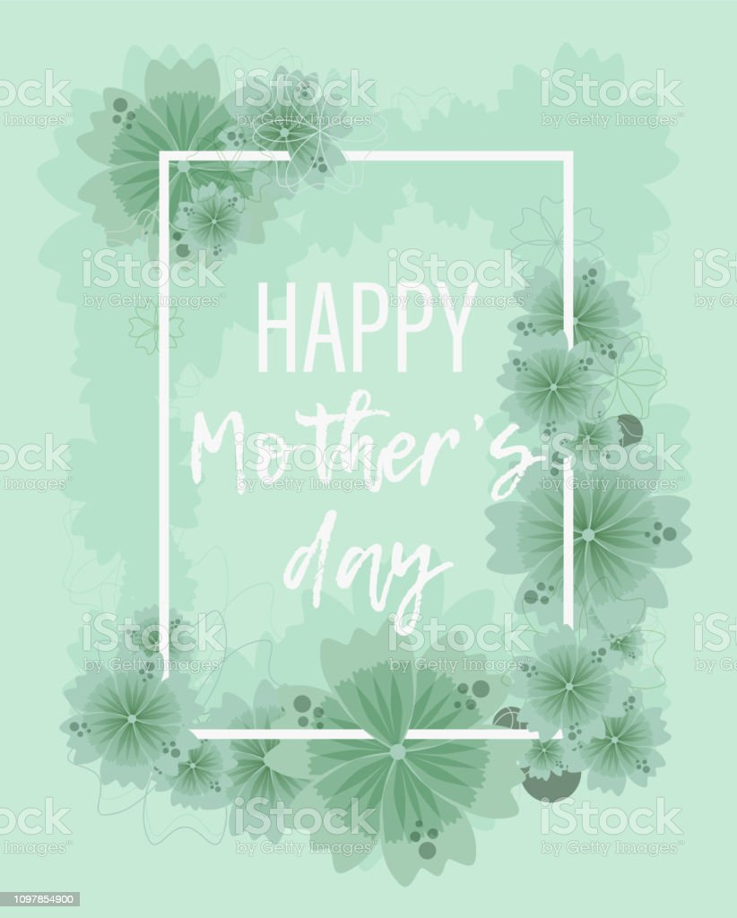 Pastel Green Floral Background For Mothers Day Stock Illustration