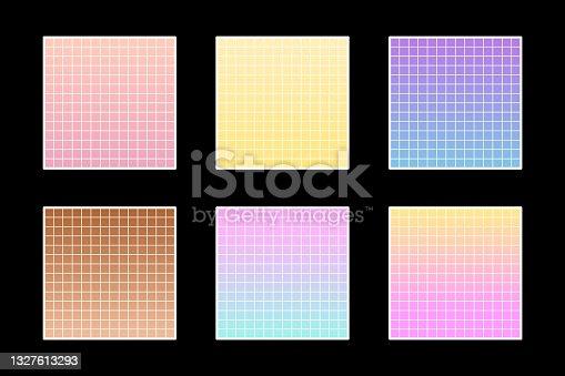Pastel grid background set. 90s retro style. T shirt trendy graphic element.