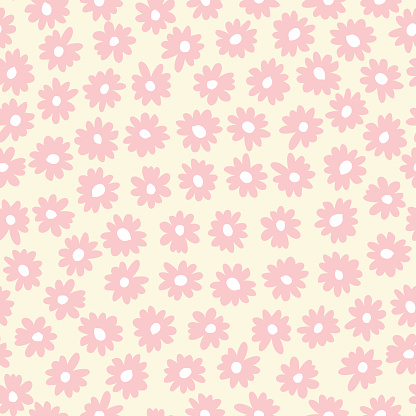 Pastel Hand-Drawn Vintage Simple Daisy Flowers Vector Seamless Pattern