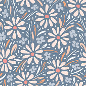 Pastel hand-painted daisies and foliage on grey background vector seamless pattern. Spring summer floral graphic print. Perfect for textiles, stationery