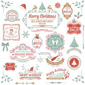 Large assortment of seasonal christmas labels and stamps in pastel colors. Holiday Christmas Label Tag collection.