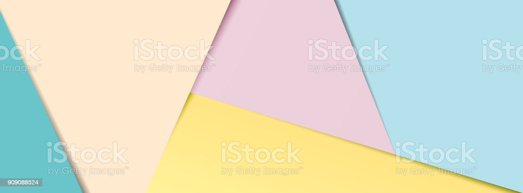 Pastel layered paper social media banner vector art illustration