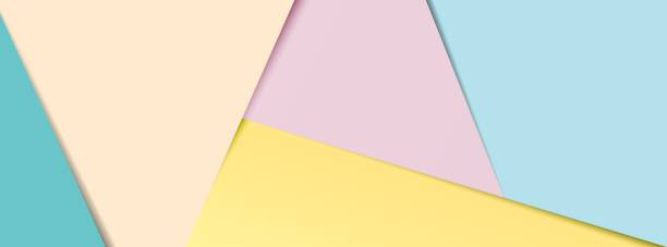 Pastel layered paper social media banner A banner of layered pastel coloured paper in popular social media banner proportions. EPS10 vector format. pastel colored stock illustrations
