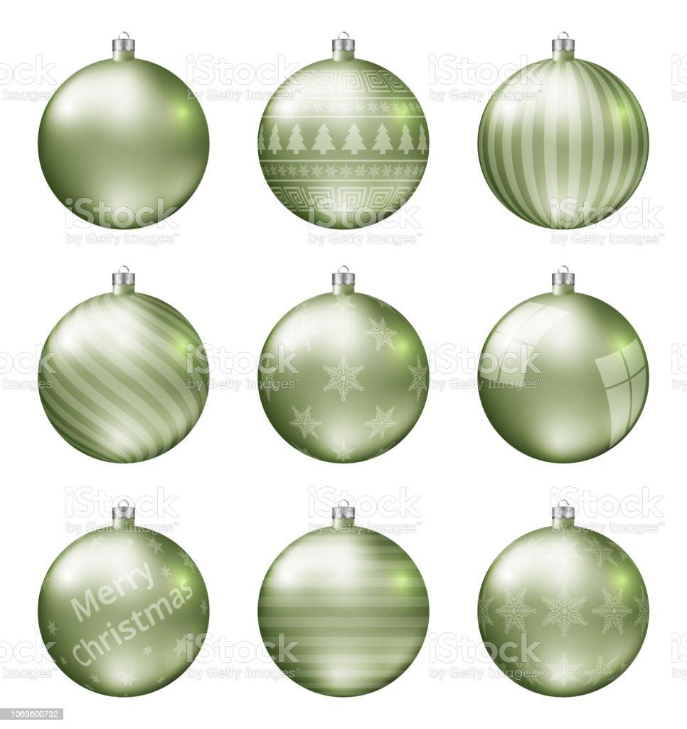 Christbaumkugeln Hellgrün.Pastell Grün Weihnachten Lichtkugeln Isoliert Auf Weißem Hintergrund