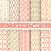 10 Pastel loving wedding vector seamless patterns (tiling). Fond pink, green, white and blue colors. Endless texture can be used for printing onto fabric and paper or invitation. Heart, flower, curl.