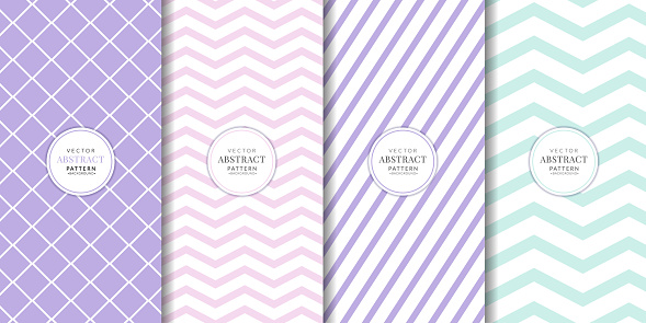 Pastel mixed seamless pattern collection. Wavy lines, mesh oblique lines. Brochure cover set.