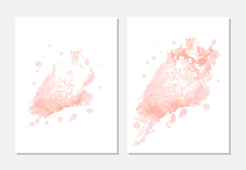 Pastel nude pink and rose brush stroke watercolor background. Blush pink watercolor paintbrush texture. Design template for banner, social media posts, cover, wedding, baby birthday, invitation