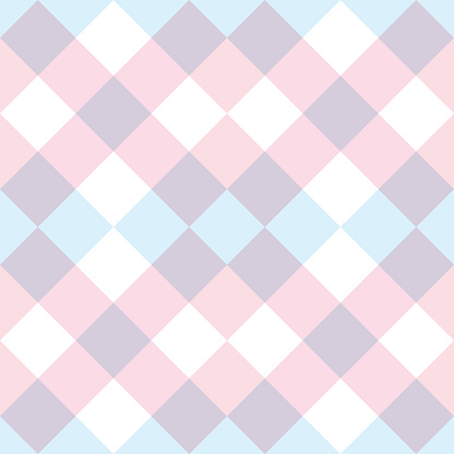 Pastel oink and purple checkered geometric plaid pattern vector