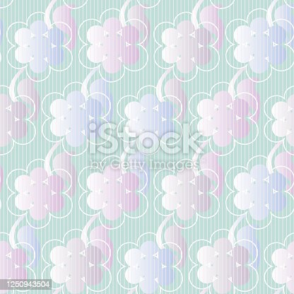Pastel ombre floral seamless vector pattern. Decorative girly surface print design with spring blooms. For fabrics, stationery, wrapping paper, and packaging.