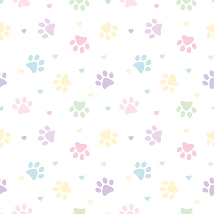 Pastel paws and hearts pattern background for pets.