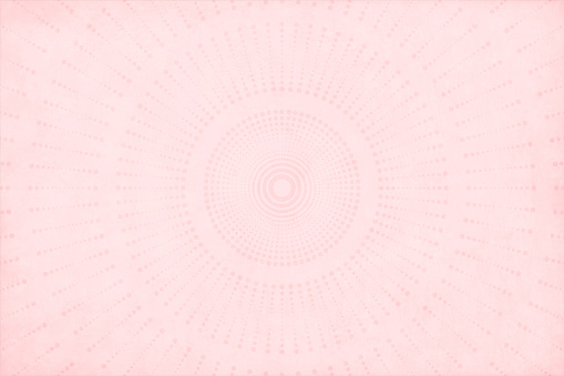 A light pale pink or peach coloured dotted circular and striped design grunge effect textured background. The pattern components make a sunburst with a circular centre.