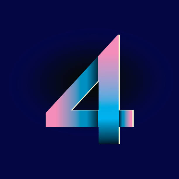 Pastel pink and electric blue gradients Alphabet number digit vector art illustration