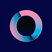 Vector illustration of a Pastel pink and electric blue gradients Alphabet number digit.