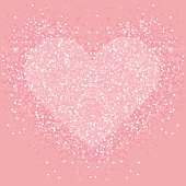Pastel pink glitter heart . Shimmer love background.