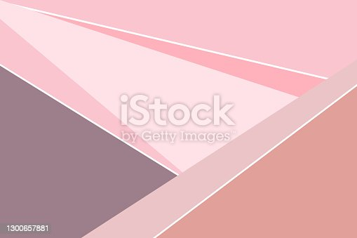 istock Pastel pink, gray vector geometric rectangular background. Minimalistic background in the style of triangles and squares. Sample for a new background. 1300657881