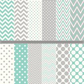 A set of Polka Dot and Chevron seamless pattern set. Aqua & Grey. Easy to change colors.