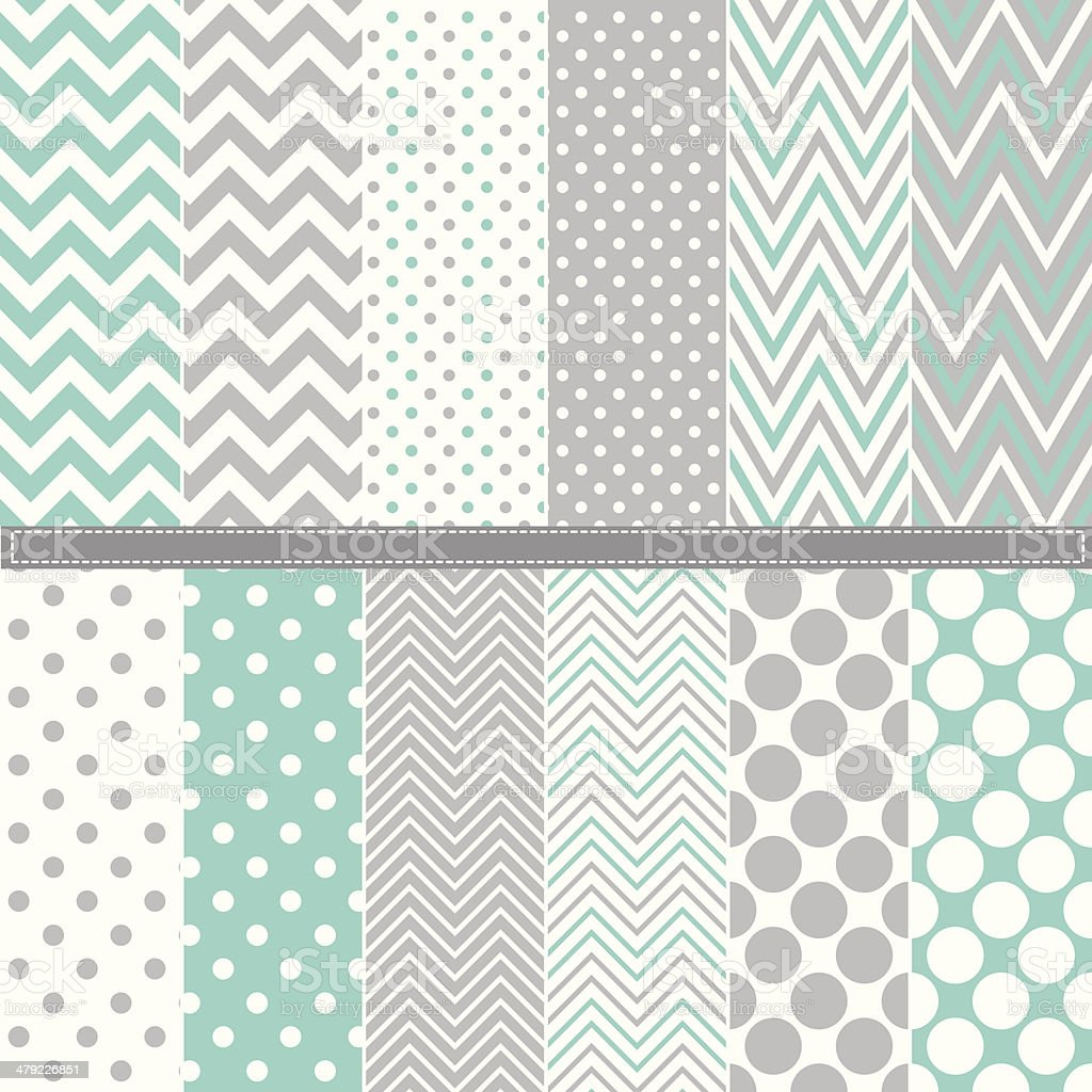 Pastel polka dot and chevron pattern set vector art illustration