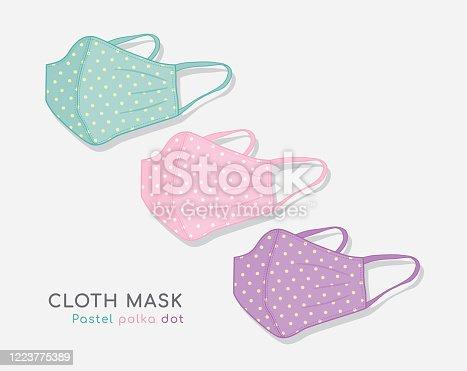 istock Pastel polka dot cloth mask 1223775389
