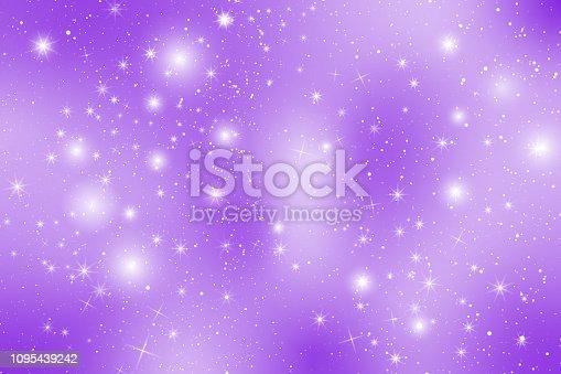 Pastel Proton Purple Snow Flake Glow Star Background. Violet Tint Tone Sky Holographic Cloud Rainbow Christmas New Year Celebration Vector