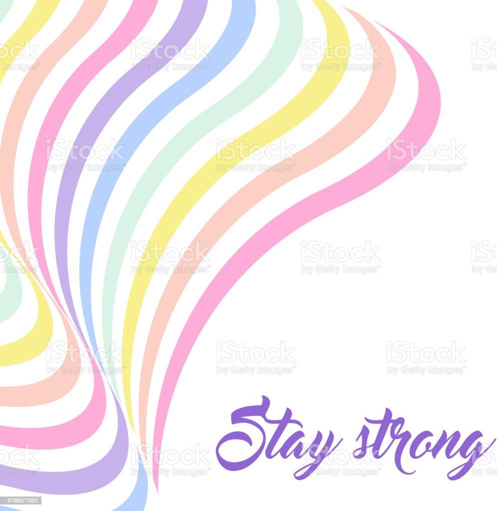 Fondo de arco iris pastel, inspirador citar Letras - estancia fuerte - ilustración de arte vectorial