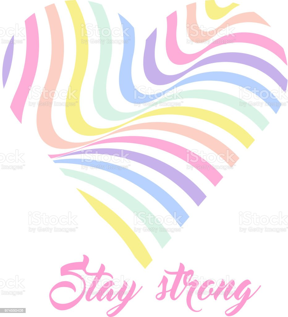 Pastel Rainbow Heart Background Inspirational Quote Lettering Stay