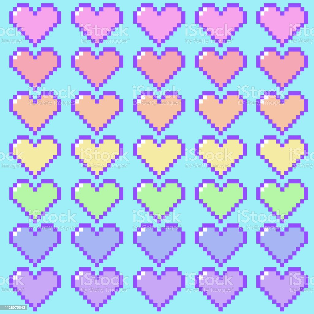 Coeurs De Pixels Arcenciel Pastel Vecteurs Libres De Droits