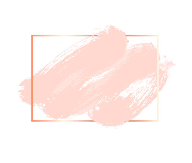 pastel rose and pink colors vector brush stroke. square frame or background for text. - głaskać stock illustrations