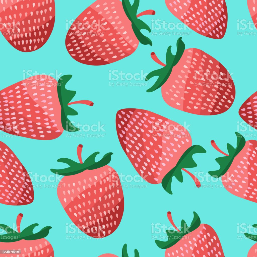 Pastel Seamless Strawberry Pattern Vector Illustration Design Stock ...