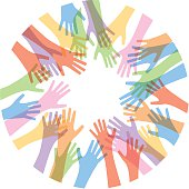 Vector illustration of a group of pastel transparent hands reaching towards each other.
