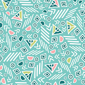 Pastel tribal abstract seamless repeat pattern. Great for folk modern wallpaper, backgrounds, invitations, packaging design projects. Surface pattern design.