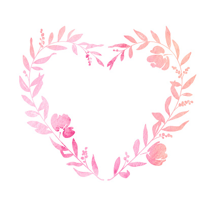 Pastel Watercolour Heart Shaped Floral Wreath