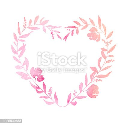 istock Pastel Watercolour Heart Shaped Floral Wreath 1226539853