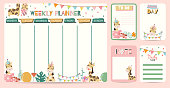Pastel weekly planner with giraffe,flag,gift box,balloon