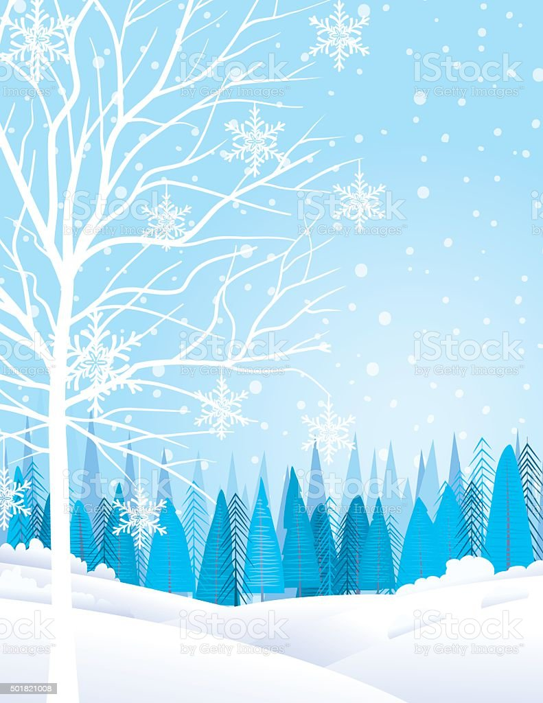 Pastel Winter Landscape With Trees and Snow vector art illustration