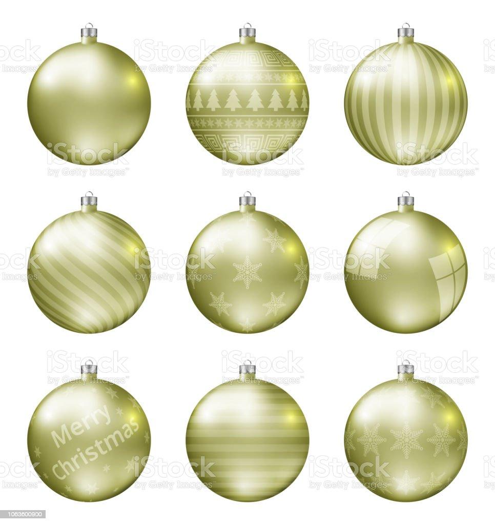 Christbaumkugeln Gelb.Pastell Gelb Weihnachten Kugeln Isolierten Auf Weißen Hintergrund Fotorealistische Qualität Vektorset Von Christbaumkugeln Stock Vektor Art Und Mehr