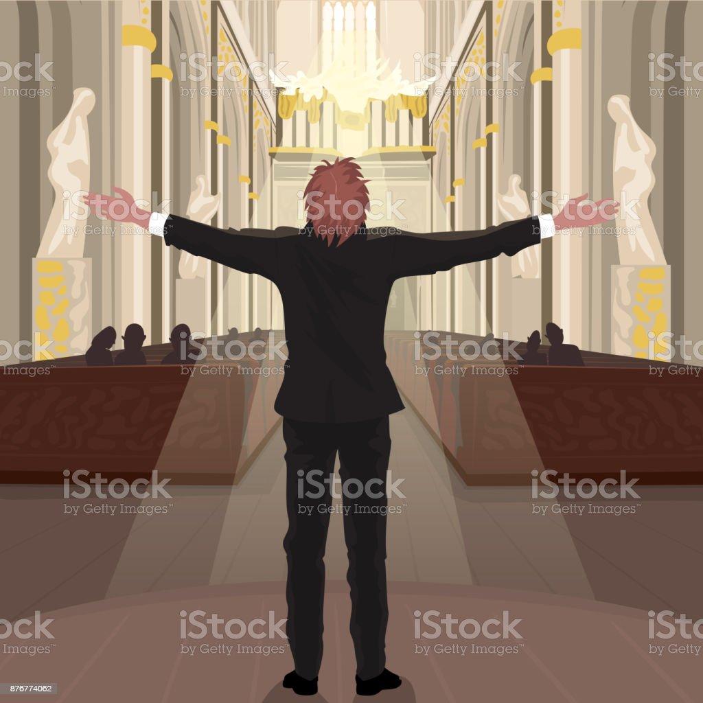 Pastor in Church calls parishioners to pray vector art illustration